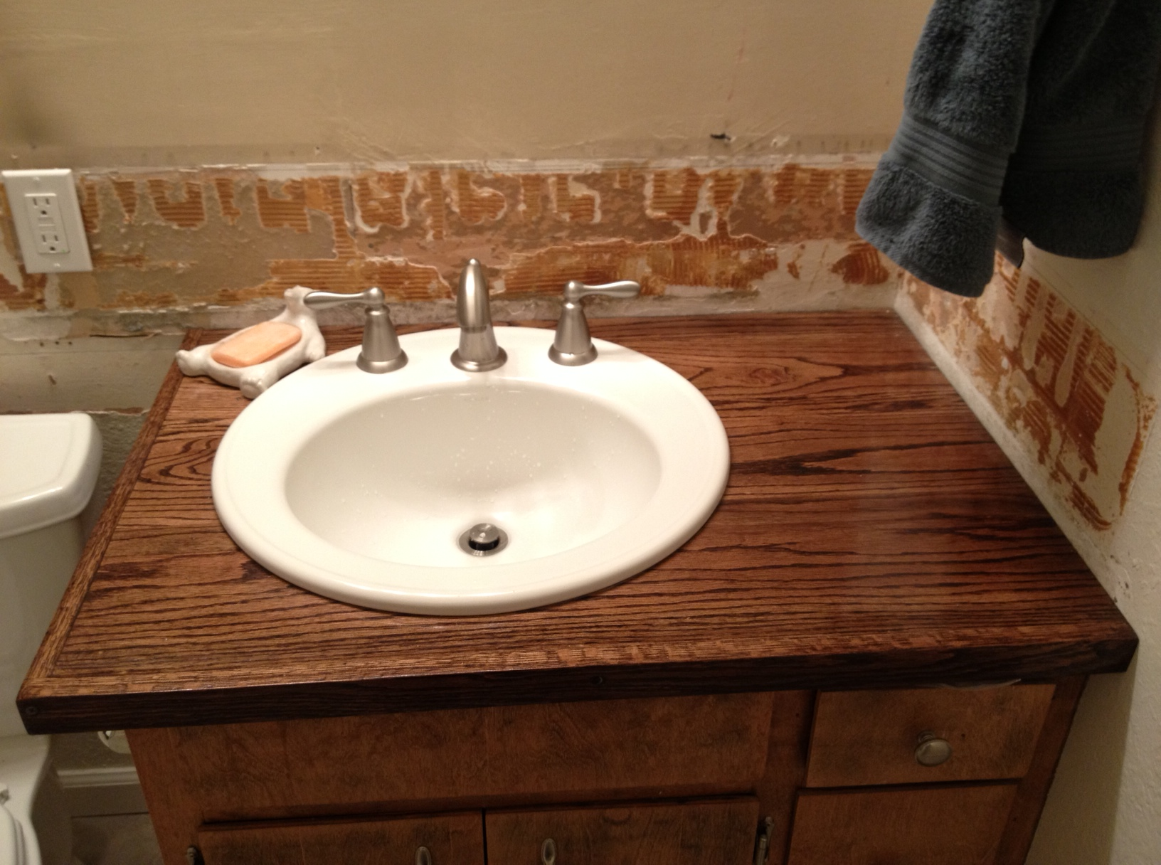 Not so hard hardwood bathroom vanity top life beyond silicon for Quick fix bathroom ideas